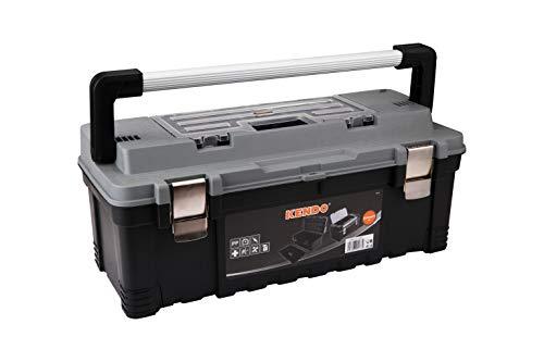 KENDO Werkzeugkoffer leer - Robuste Toolbox - Verschließbare Fächer - Aus leichtem und stabilem Kunststoff - Für Kleinteile und Werkzeug - 65.5 x 28.5 x 27 cm