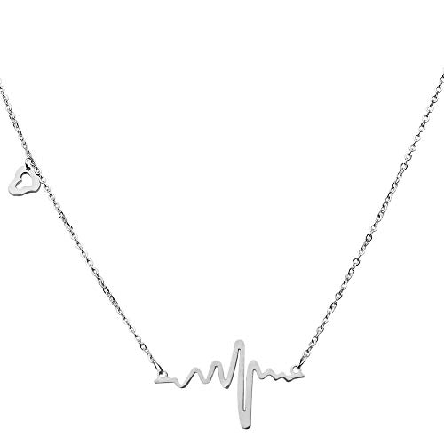 tumundo® Hals-Kette Herzschlag Puls Rythmus EKG Herz-Frequenz Anhänger Liebe Love Freund Edelstahl Damen Geschenkbox Etui, Variante:silbern