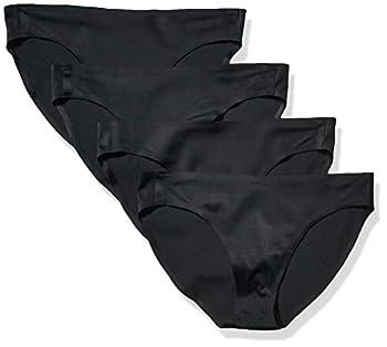 Amazon Essentials Women s 4-Pack Seamless Bonded Stretch Bikini Panty Black M