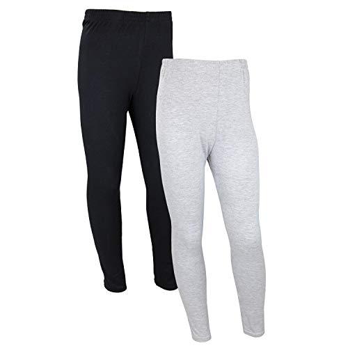 TupTam Mädchen Lange Leggings Unifarbe 2er Pack, Farbe: Schwarz/Grau, Größe: 116