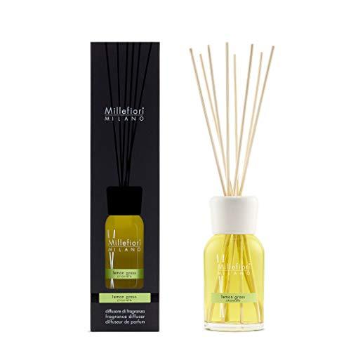 Millefiori 7DDLG Lemon Grass Raumduft Diffuser 250 ml Natural inklusive Stäbchen, Glas, Gelb, 8 x 30.9 x 7.6 cm