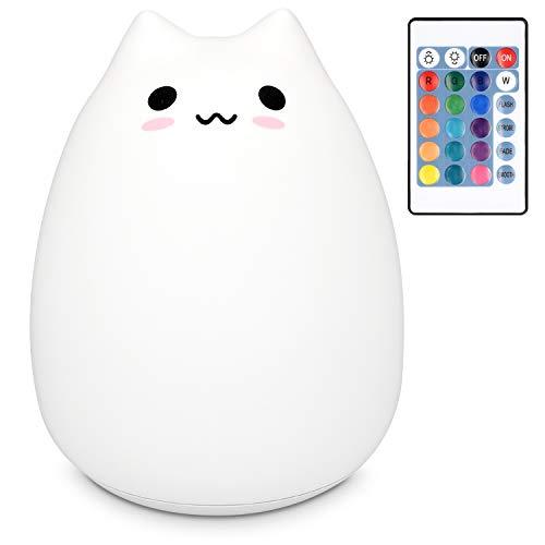 Navaris XXL LED Nachtlicht Katze Design - mit Fernbedienung Micro USB Kabel - Farbwechsel Kinder Nachttischlampe groß - Schlummerlicht Lampe Weiß