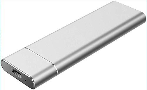 External Festplatte, 1 TB, 2 TB, tragbar, externe Festplatte, USB-3.1-Festplatte, tragbar, für PC Laptop und Mac (2 TB-C Silber)