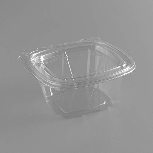 Dart CH6DEF 6 oz Tamper-Resistant Clear Hinged Container with Flat Lid (Pack of 400)