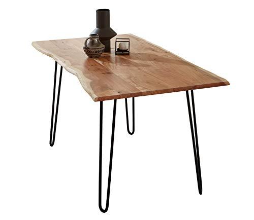SAM Esszimmertisch 140x80cm Hannah, echte Baumkante, Akazienholz naturfarben, massiver Baumkantentisch mit Hairpin-Gestell Mattschwarz