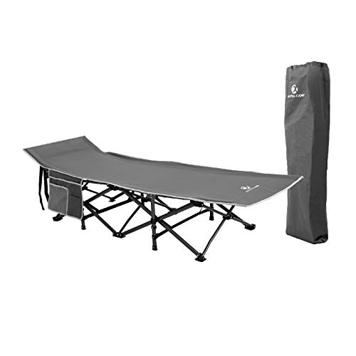 ALPHA CAMP Outdoor Folding Camping Cots for Adults 400 lbs, Portable Heavy Duty Sleeping Cot Durable Lightweight Outdoor Bed with Carry Bag, Grey