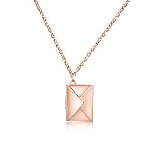 Collar Personalizado 925 Plata Colgante Collar para Madre Hija Collar con Nombre Grabado Regalo para Cumpleaños Navidad (Oro rosa)