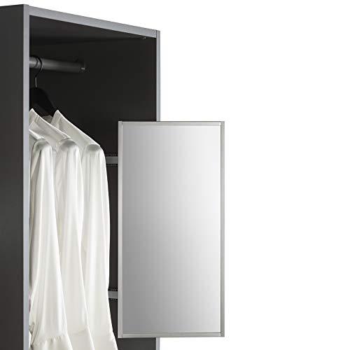 SOTECH Schrankspiegel anthrazit 565 x 305 mm ausziehbar Spiegel schwenkbar 180° Kleiderschrankspiegel