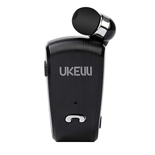 Bluetooth Headset 4.0, Rauschunterdrückung Wireless Kopfhörer mit Mikrofon, Drahtloses Handfreies Ohrhörer Teleskop Bluetooth Headset 4.0 Neckpin Bluetooth Headset (Schwarz)