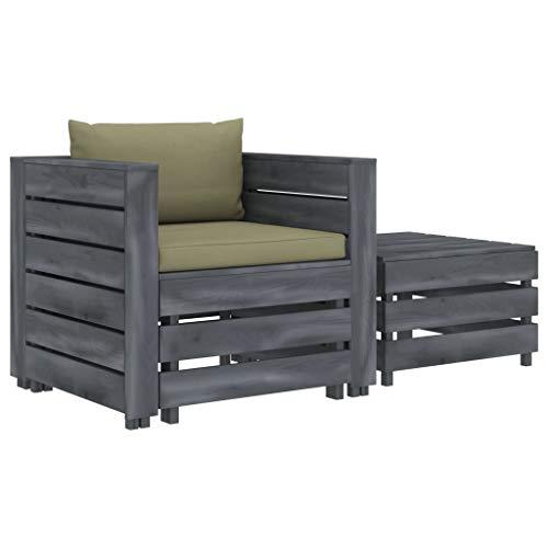 vidaXL - Muebles de madera para jardín (2 piezas) Con cojines de color beige, muebles de jardín, sillón, taburete, taburete, mesa auxiliar.