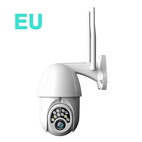 Cámara IP Exterior, Camara IP WiFi 1080p, Cámara PTZ Vigilancia Exterior WiFi Motorizada P/T 5 X Zoom Visión Nocturna Detección de Movimiento Monitorización Remota vía PC/Smartphone/Tableta