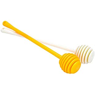 2 sticks Honey stick stir stick, plastic jam stick coffee milk tea stir stick, long handle honey spoon wooden honey craft stick:Superclub