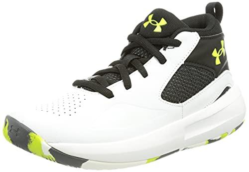 Under Armour Pre-School Lockdown 5, Unisex-Erwachsene Basketballschuhe, Weiß Schwarz High Vis Gelb 102, 48 EU
