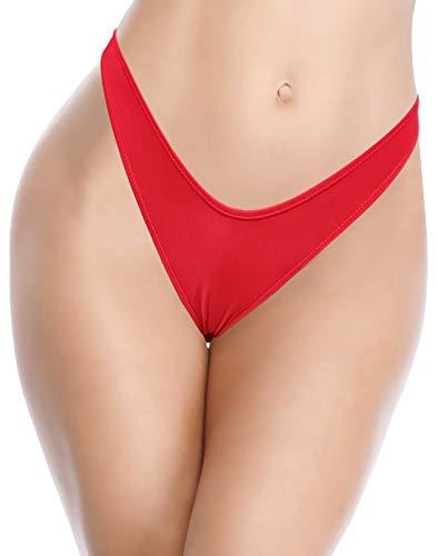 SHEKINI Damen Sexy Brasilianer Niedrige Taille Ruched Bikinihose Tanga Bikini Unterteil Schwarz Badehose (Rot C,M)