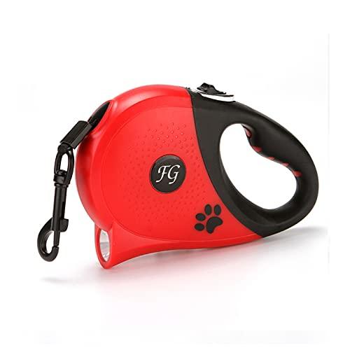 PETCUTE Hundeleine Rollleine 5M, Heavy Duty Einziehbare Hundeleine mit Anti-Rutsch-Griff und Licht,USB Wiederaufladbar, Sicheres Bremssystem,Roll-Leine Ausziehbar für kleine große Hunde Rot