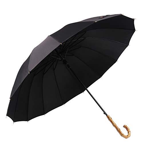 Lanker - KS08P Paraguas grande que se abre y se cierra de forma manual con 16 varillas, duradero y resistente con fibra 210T impermeable, resistente al viento negro negro