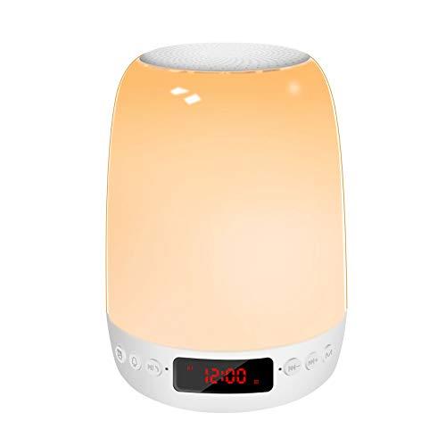 6 in 1 Nachttischlampe touch dimmbar mit Bluetooth Lautsprecher, FM Radio, Wecker digital nachtlicht, MP3 Player, mückenabweisendem Nachtlicht, 7 RGB-Farbwechsel-Stimmungslicht für erwachsene Kinder