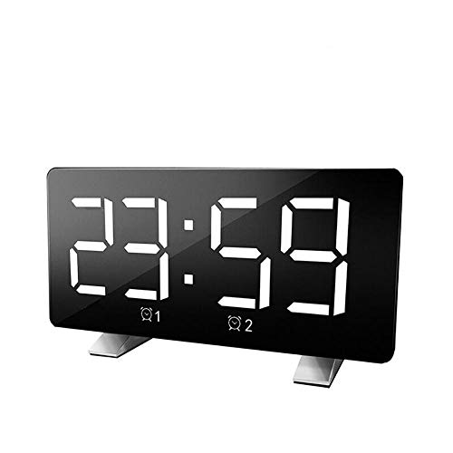 FPRW Rectangle Desktop Wake Up Clock, digitale FM-radio's, tijdgeheugen, USB-oplading, met heldere decoratie, LED-wekker, wit