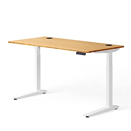 """Fully Jarvis Standing Desk 60"""" x 27"""" Natural Bamboo Top - Electric Adjustable Desk Height from 30"""" to 49"""" with Memory Preset Controller (Rectangle, White Frame)"""