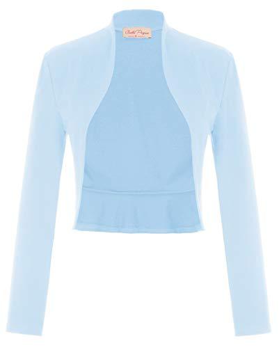 Belle Poque dames lange mouwen open front bolero feestelijke blazer bolerojas schouderjas cardigan top BP788
