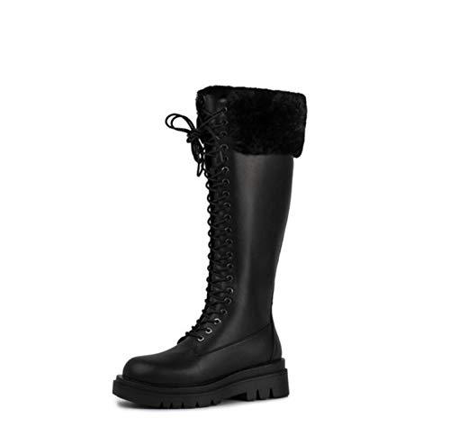 Womens Bont Bekleed Warme Snowboots Leren Platforms Lace Up Mid Calf Long Boots Biker Combat Militaire Goth Punk Hoge Laarzen,Black,41 EU