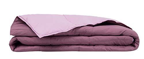 Casatex Piumino Matrimoniale Bicolore Con Imbottitura In 100% Piuma D'Oca Naturale - Colore Malva/Rosa