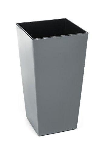 Gordanluk , Tall Modern Square Flowerpot with internal riser , Shiny Gloss Finish , Plant pot , Indoor, Outdoor, Garden , Large garden planter, Plastic , Planters (Grey, 30 x 57 cm)