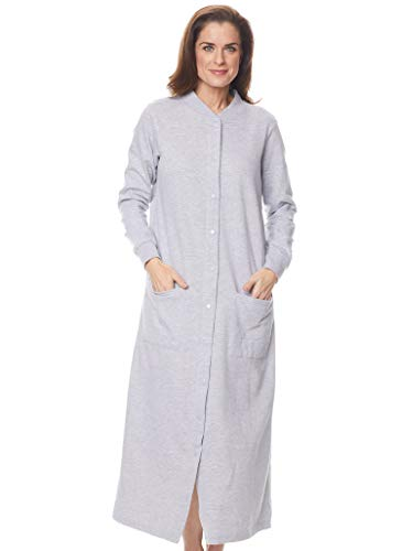 AmeriMark Terry Knit Long Robe Duster Loungewear Snap Front Large Patch Pockets