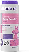 MADE OF Organic Baby Powder- Organic Corn Starch Baby Powder for Sensitive Skin and Eczema - NSF Organic Certified - Made in USA - 3.4oz (Fragrance Free, 1-Pack)