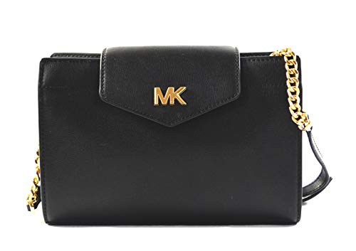Michael Kors Women's Mott Leather Large Clutch Crossbody Bag Purse Handbag (Black)