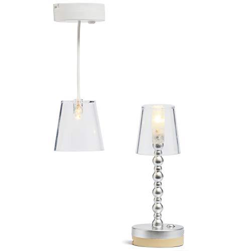 Lundby 60-605000 - Lampen Puppenhaus - 2 Stück - Lampenset - LED-Licht - Puppenhauszubehör - Zubehör - batteriebetrieben - Stehlampe - Hängeleuchte - Deckenleuchte - ab 4 Jahre - Minipuppen 1:18