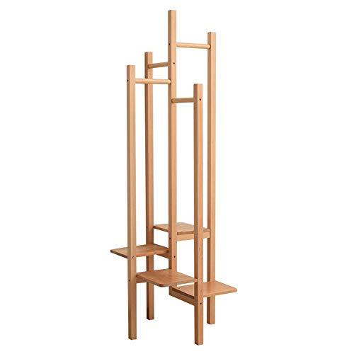 KEKEYANG Moderna sólida capa de madera estante del zapato estante-piso de la habitación Guardar estante colgador de la rejilla de almacenamiento estantería de estilo japonés espacio de porche y gancho
