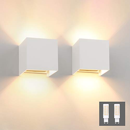 Klighten 2 Stücke LED Wandleuchte Innen Modern Up Down Wandlampe Mit Einer Ersetzbaren G9 LED Birne IP54 LED Wandbeleuchtung Innen & Außen Warmweiß (Weiß 3000K)