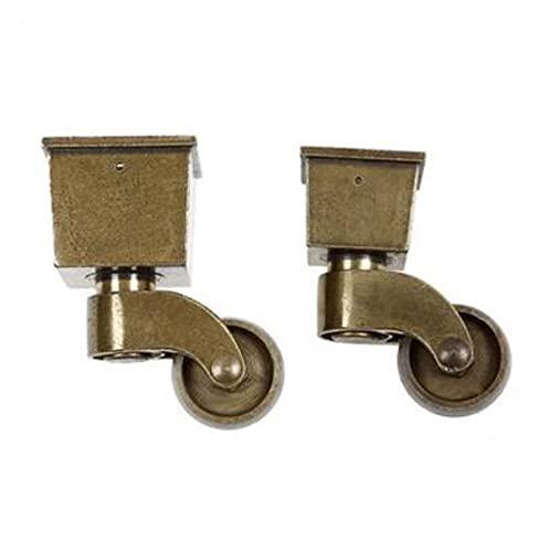 LJSF Möbelrollen 4 Stück/Charge von antiken Bronze-Retro-Möbelrollen, stillen Riemenscheiben und universellen Rädern Geeignet für Homeoffice und Hubwagen