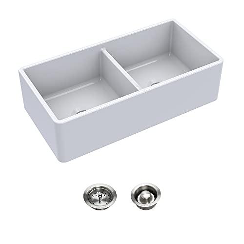 Sinkology K994-BD72 Austen Farmhouse/Apron-Front 36 in. Double Bowl Drains Fireclay Kitchen Sink Kit, 36 inch, Crisp White