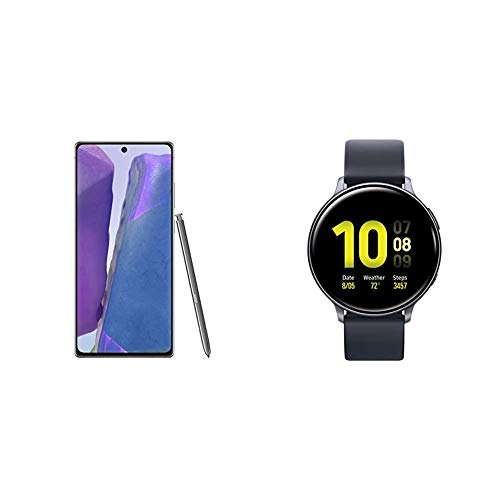 Samsung Galaxy Note 20 5G Factory Unlocked Android Cell Phone, US Version, 128GB Storage, Mystic Gray & Smart Watch Active 2 (44mm, GPS, Bluetooth) Aqua Black
