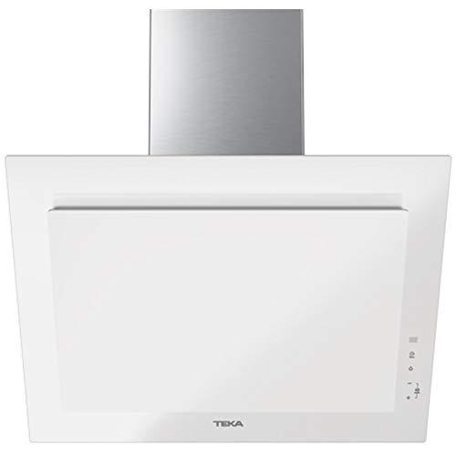 Teka DVT 68660 TBS Campana Decorativa Vertical de 60cm de aspiración perimetral y función FresAir | Cristal Blanco | 38 x 60 x 41.2 | Clase Energética, Normal