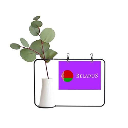 OFFbb-USA Weißrussland Osteuropäische Minsk-Flagge Metall-Bilderrahmen Keramikvase Dekor