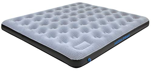 High Peak Unisex King Comfort Plus Luftbett, mit integrierte Fußpumpe und Anti-Rutsch Funktion, atmungsaktiv, robust, Oberseite weich, für Indoor und Outdoor, grau/blau/schwarz, 200 x 185 x 20 cm