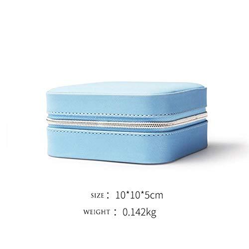 MSTR Kleine Aufbewahrungsbox für Armbanduhr, Lippenstift, für Damen, Geschenk, PU-Leder blau