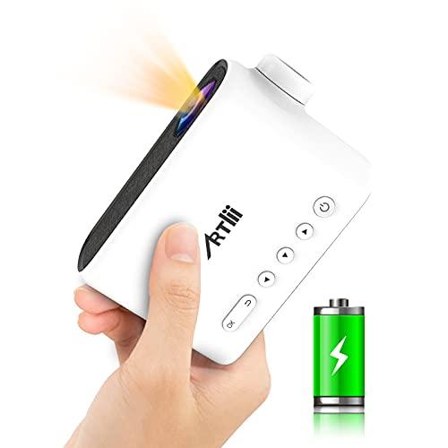 Proiettore Portatile Mini Proiettore Artlii Q Videoproiettore Batteria Incorporata Proiettore Telefono Cellulare Regalo Bambini, Compatibile con iPhone, Android, TV Stick, Smartphone