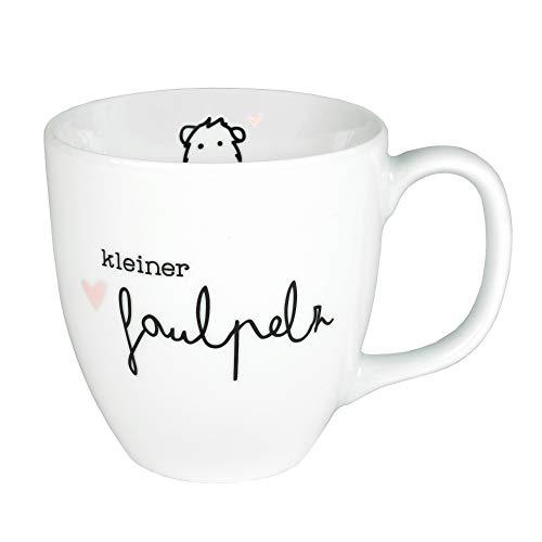 Odernichtoderdoch Jumbo-Tasse 'Kleiner Faulpelz' - Kaffeebecher aus Porzellan mit Spruch - Volumen 0,4 l, weiß