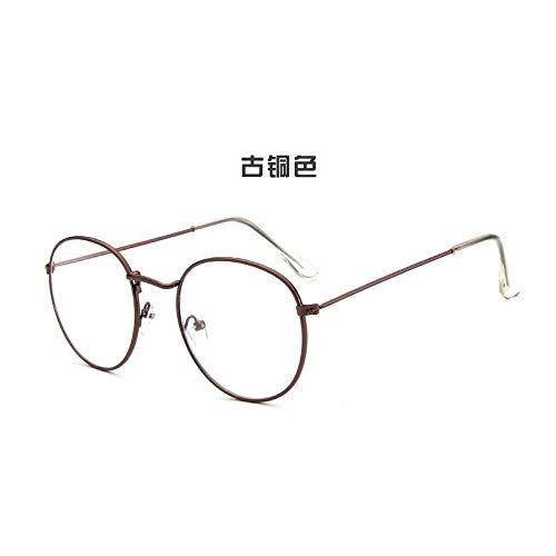 YMTP Gafas De Mujer Marcos Ópticos Gafas Redondas De Metal Montura De Lente Transparente Gafas Negro Plata Oro Ojo De Cristal