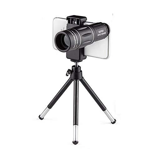 GAOXIAOMEI Telescopio monocular HD 18X25 Lente con Zoom Impermeable BAK4 Prisma Alcance de visión Nocturna Baja Adaptador de teléfono Inteligente Trípode para observación Aves Caza