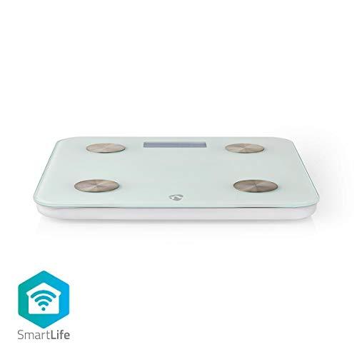 NEDIS WLAN Smart Personenwaage (WIFIHS10WT) - BMI, Fett, Wasser, Knochen, Muskeln, Protein