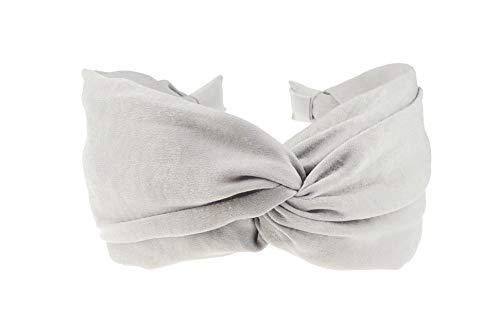 Glamour Girlz - Cerchietto da donna con fascia larga in tessuto con dettagli intrecciati, effetto seta, colore: grigio