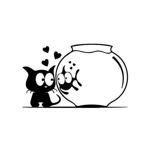 GenericBrands 5 Piezas Pegatina de Coche 15,4 CM * 9,3 CM Pegatinas de Coche Gato Peces Acuario Animales Divertidos Vinilo calcomanía Negro