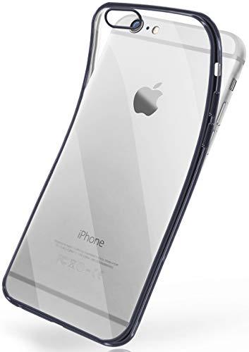moex Transparente Silikonhülle im Chrome-Style kompatibel mit iPhone 6s / iPhone 6 | Flexibler Schutz mit Hochglanz Metallic Rahmen, Anthrazit