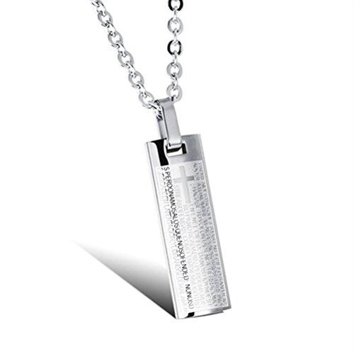 Rosenice - Cadena con colgante de acero y titanio para hombre, cruz bíblica con cadena de 50,8 cm (plateado)