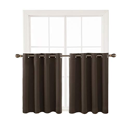 Deconovo Dark Grey Blackout Window Valances for Kitchen Thermal Insulated Blackout Grommet Top Tier Curtain for Bedroom 52x36 Inch 2 Panels